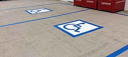 Blue parking lot lines