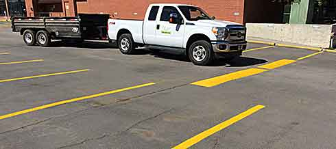 Parking lot swept, re-painted and dirt will be taken to dump
