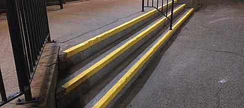 Safety stripes on steps